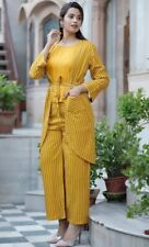 Yellow kurti womens clothing,Dress for girl Women Ethnic Jacket, Top and Palazzo