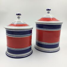 Vintage Mancioli canisters ceramic red white blue set of 2