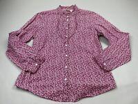 LL Bean Large L Purple/Pink Floral Ruffle Button Top Blouse Shirt Women Cotton