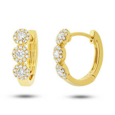 Round Cut Diamond Huggie Hoop Earring 0.37 Ct 14K Yellow Gold Natural