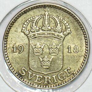Sweden 1918 25 Ore Ch AU-UNC 152807 combine shipping