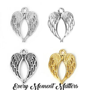 10 x Tibetan GUARDIAN ANGEL WINGS DOUBLE WINGS 22x17mm Charms Various Styles