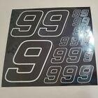BLACK CHROME Carbon Fiber w/white #9's Decal Sticker Sheet1/8-1/10-1/12 RCModels