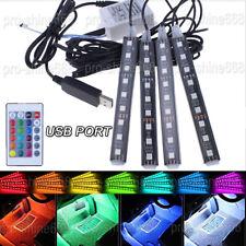 4Pcs 9LED Remote Control Colorful RGB Car Interior Floor Seat Decor Lights 12V