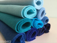 Wool mix felt craft pack - 10 pieces per pack - choice of sizes - Blue shades