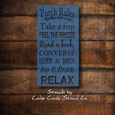 Porch Rules Stencil, Sign Stencil, Craft Stencil, Diy sign stencil, wall stencil