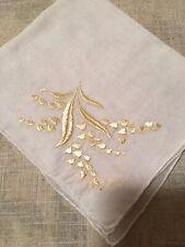 Vintage White Semi-Sheer Ecru Embroidered Hankie