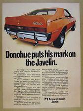 1970 AMC Mark Donohue Javelin SST orange car photo vintage print Ad