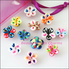 10Pcs Mixed Handmade Polymer Fimo Clay Flower Spacer Beads Charms 10mm