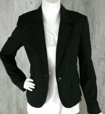 Ann Taylor Loft Womens Blazer Jacket Black Pinstripe Sz 4 Notch Lapel Pockets