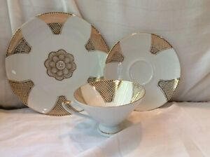 WINTERLING Bavaria Germany China GOLD 3pc Tea Cup Plate Saucer Set Art Deco