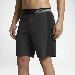 """Hurley Men's Phantom Hyperweave Motion Elite Stripe 18"""" Boardshorts - Black (40)"""