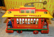 Vintage Broadway Trolley 10430 Tin Toy Made in Japan Runs Needs Love Free Ship