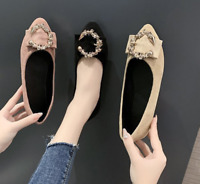 Womens Fashion Pointed Toe Flats D'Orsy Loafers Office Suede Slip On Ladies Shoe