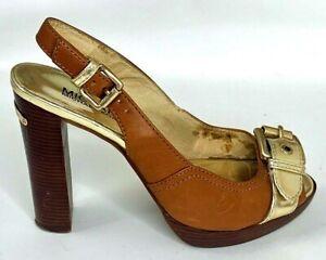 Michael Kors Women Heel Slingback Buckle Peep Toe Brown Gold Metallic Shoe 7 1/2