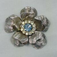Coro Silver Tone Blue Rhinestone Flower Vintage Brooch Pin