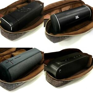 TUFF LUV Tweed Case for Bluetooth Speakers SRS-X3, Soundface, Flip 2 Brown