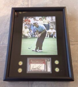 ARNOLD PALMER Framed Set w/ Leaf Cut Signature Auto, 4 Masters markers & Photo