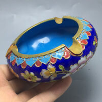 Old Chinese Palace Cloisonne Enamel Copper Flower Ashtray Ash Tray Tobacco Pot