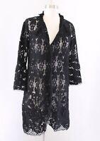 Hoss Intropia Anthropologie Black Sheer Mesh Lace Duster Jacket Size 38 Boho