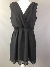Dorothy Perkins Dress Size 14 Black Chiffon Short Floaty Low V Front Back