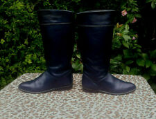 Vintage Dark Blue Leather Riding Style Boots UK 7.5 EU 41
