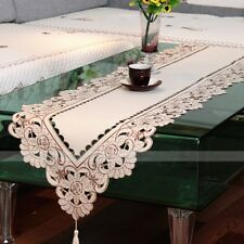 Yazi Beige Embroidered Table Runner Hollow Floral for Wedding Party Decoration 40 X 150cm / 15.7 X 59 Inch