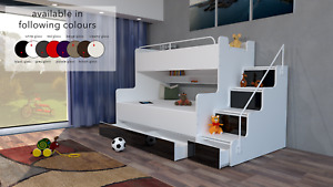 MODERN BEDROOM TRIPLE DOUBLE BUNK BED STORAGE STAIRS BOY GIRL CHILD YOUTH KIDS