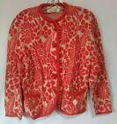 Vintage 1960s Catalina Jacquard Cardigan Sweater Womens Orange Floral Sz 40