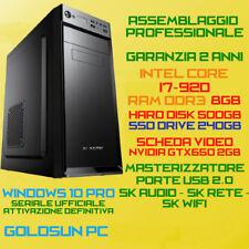 COMPUTER PC FISSO INTEL Core i7-920 RAM 8GB SSD240GB HDD500GB DVD-RW GTX650-2GB