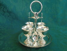 Silver Plate Egg Cup Set with Stand and Spoons