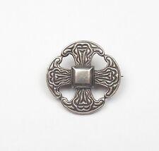 VINTAGE 925 Argento Sterling Rotondo Celtico Scozzese Croce di Malta Spilla 8.1g
