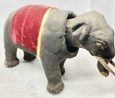 Antique Early 1900s Paper Mache Elephant Nodder Pull Toy