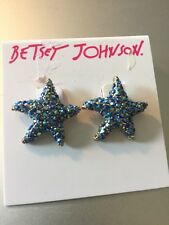 $32 Betsey Johnson Glitter Reaf Star~Fish Gold~Toned Stud Earrings BB203