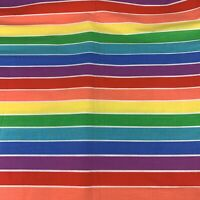 Vintage RETRO RAINBOW Fabric Striped 2.6 Yards Sheets Curtains Tablecloth