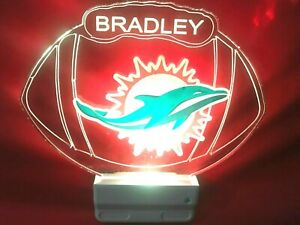 Miami Dolphins NFL Night Light Personalized LED Plug In With Dusk to Dawn Sensor