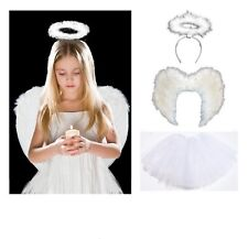 WHITE ANGEL TUTU COSTUME Feather Girls Halloween Fancy Dress Party Outfit