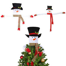 More details for christmas tree topper cute top hat winter party ornaments snowman decorations