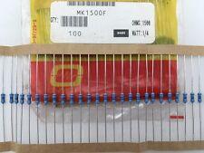 (100 pcs) MK1500F Ohmite, 1/4 Watt  150 Ohm  1%, Metal Film Resistor (Axial)