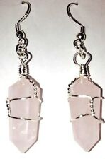 Rose Quartz Crystal Points point healing silver tone Earrings FREE SHIPPING