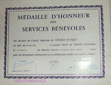 DIPLOME MEDAILLE D'HONNEUR ETOILE CIVIQUE 1970