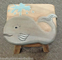 FOOTSTOOLS - WHALE WOODEN FOOTSTOOL - WHALE FOOT STOOL - NAUTICAL DECOR - BEACH