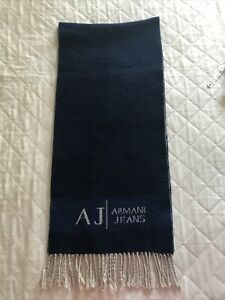 ARMANI JEANS Winter NAVY BLUE LOGO SCARF MADE IN ITALY