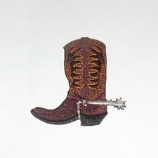 Western & Country Themed Cowboy Boot Embroidered iron-on Patch New 3""