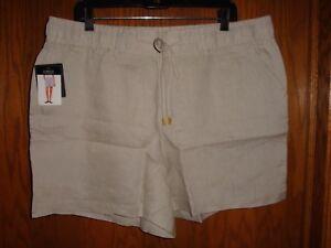 Ellen Tracey Womens Linen Sandstone Shorts Size:  XL  NWT