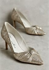NIB Anthropologie Bettye Muller gold silver Bridal Muted Metallic Bow Pumps 6