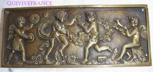 Plate Bronze Bas Relief Bacchanal Of Cherubs