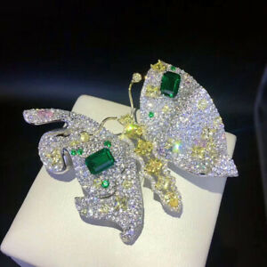 Luxury! Butterfly Brooch, High Imitation Emerald Brooch, S925 Sterling Silver