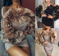 Womens Ladies Fine Ribbed Frill Ruffle Cold Shoulder Party Jumper Mini Dress New