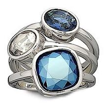"""AUTHENTIC SWAN SIGNED SWAROVSKI """"BRIGHT"""" BLUE RING 866936 SIZE 52 (6)"""